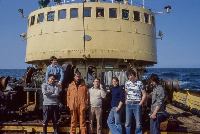 Scientists on Deck Lto R  Derek Murison, Professor Chang, John Dunn, Tassou Eleptheriou, Mike Robertson, Charles Shand, Dave Basford , ©Derek Moore