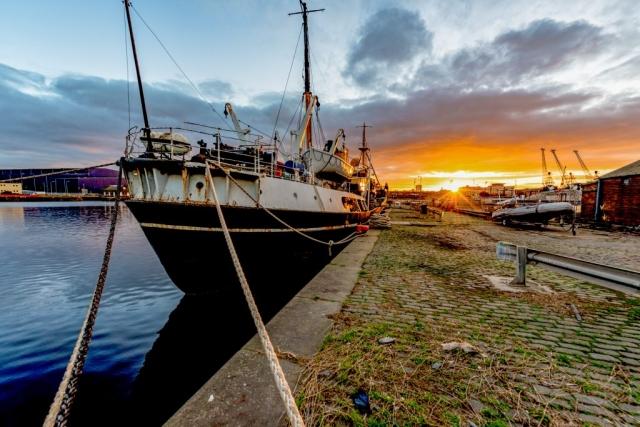 SS Explorer and a glorious sunset.