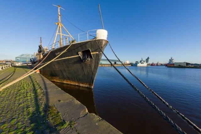 Edinburgh dock, Leith with SS Explorer, MV Jura and several VOS rescue ships