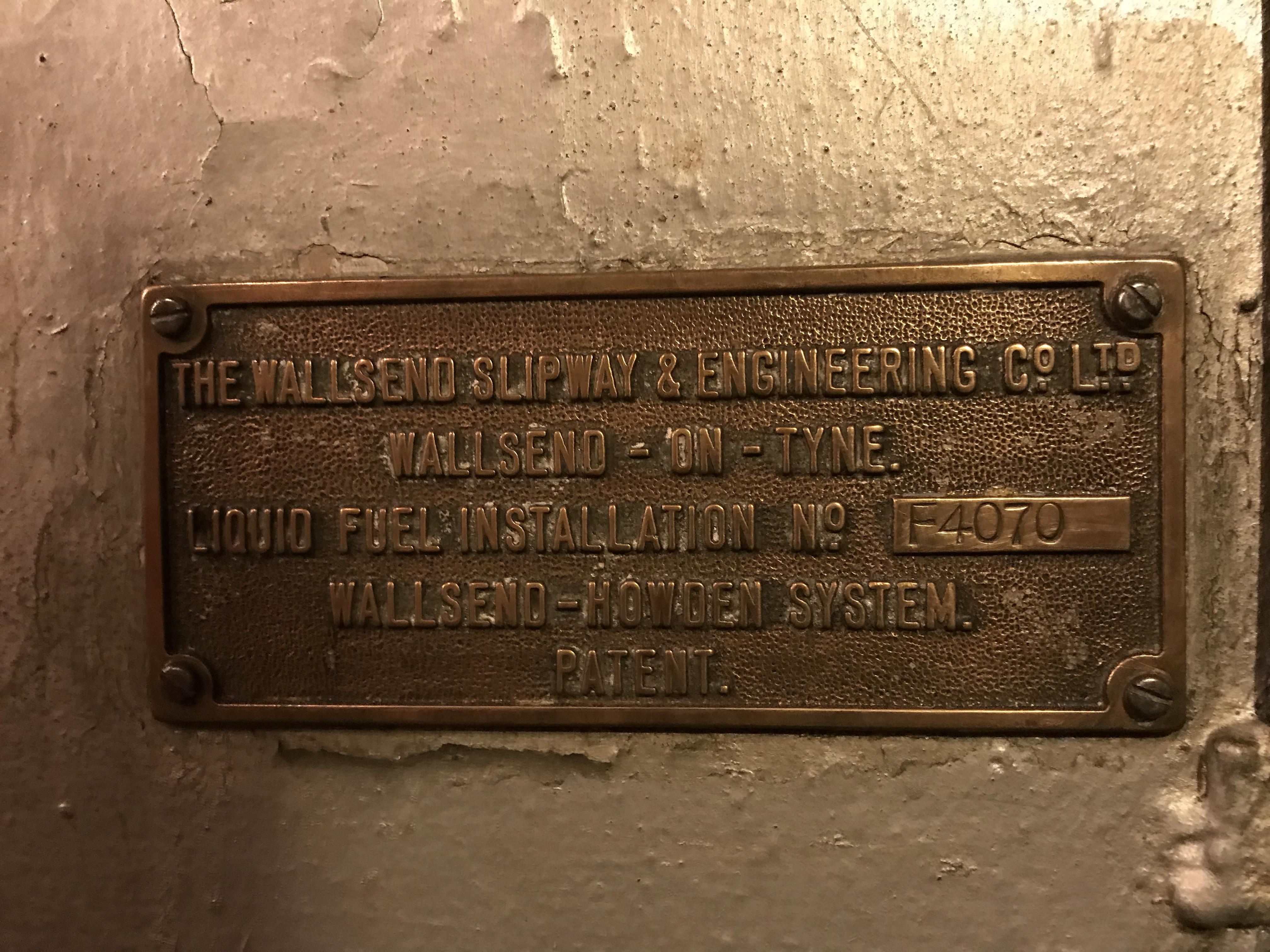 The Wallsend Slipway & Engineering colin_williamson@btinternet.com Ltd  Wallsend-on-Tyne.  Liquid Fuel Installation No. F4070.  Wallsend-Howden System Patent